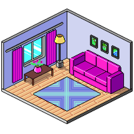 Pixel art isometric room detailed colorful vector illustration