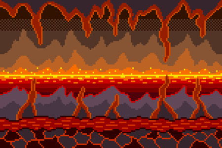 Pixel art hell background detailed colorful vector illustration