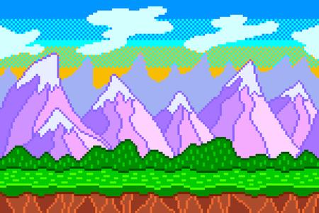 Pixel art mountains background detailed colorful vector illustration Ilustração