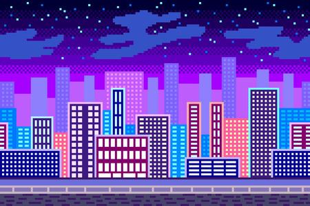 Pixel art night city background detailed colorful vector illustration Ilustração