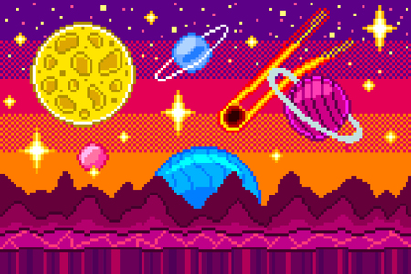 Pixel art space background detailed colorful vector illustration