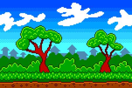 Pixel art village background detailed colorful vector illustration