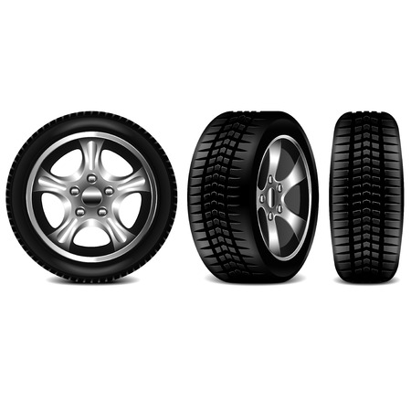 Car tire 3 views isolated on white photo-realistic vector illustration