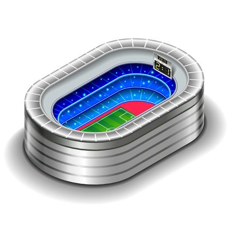 Isometric stadium isolated on white photo-realistic vector illustration Ilustração