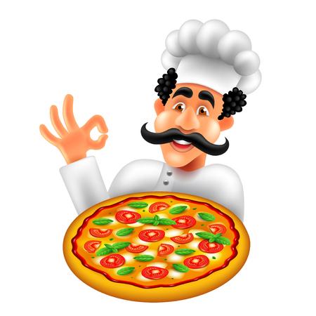 Cartoon italian pizza chef isolated on white vector illustration