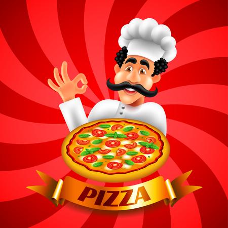 Cartoon italian pizza chef on red background vector illustration Ilustração