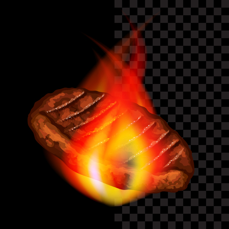 Meat steak with flames barbeque photo-realistic dark vector background
