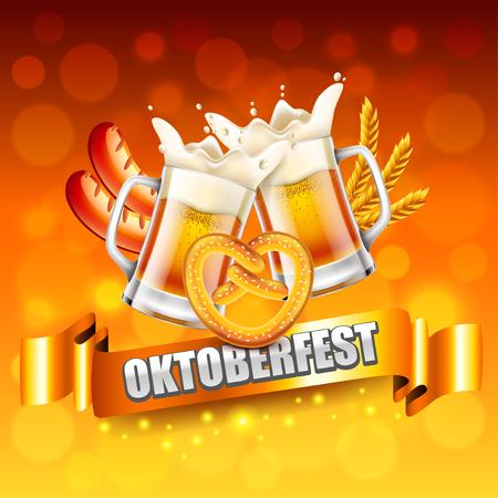 Oktoberfest celebration poster concept photo realistic vector background