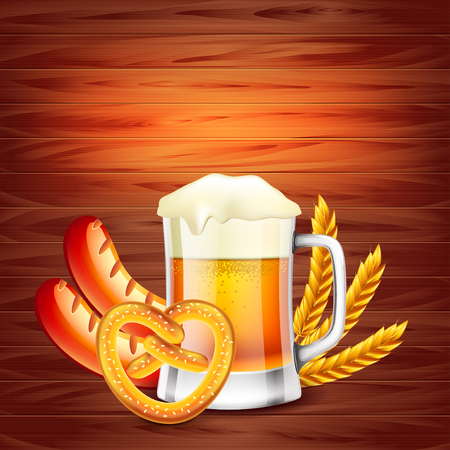Oktoberfest poster concept on wooden background photo realistic vector