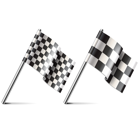 Racing flag isolated on white photo-realistic vector illustration