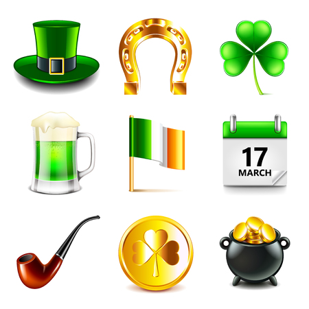 Saint Patrick day icons detailed photo realistic vector set