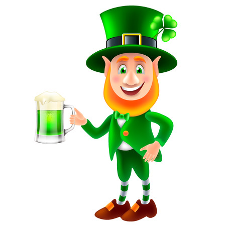 Cartoon saint Patrick with beer isolated on white vector illustration