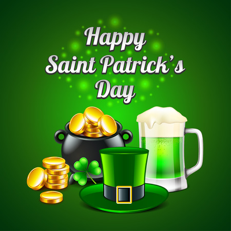 St. Patricks Day concept on green photo-realistic vector background
