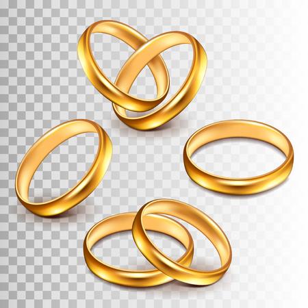 Wedding rings set isolated on white photo-realistic vector illustration