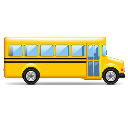 Yellow school bus profile isolated on white photo-realistic vector illustration