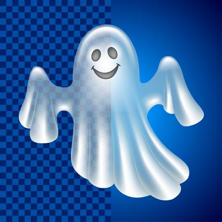 Cartoon cute ghost isolated on dark vector illustration