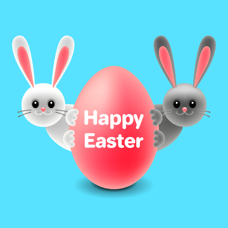 Cartoon easter rabbits behind egg isolated on blue vector illustration