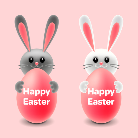 Cartoon easter two rabbits behind eggs isolated on pink vector illustration Ilustração