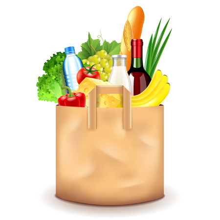 Food in paper bag isolated on white photo-realistic vector illustration