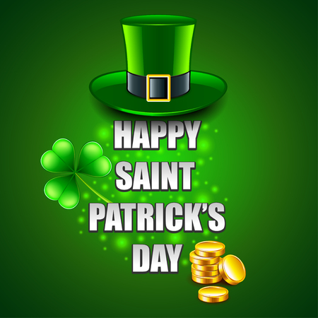 Happy St. Patricks Day concept on green photo-realistic vector background