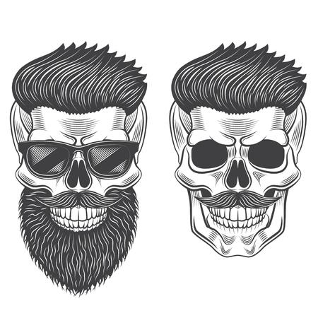 Hipster skull monochrome isolated on white graphic vector illustration