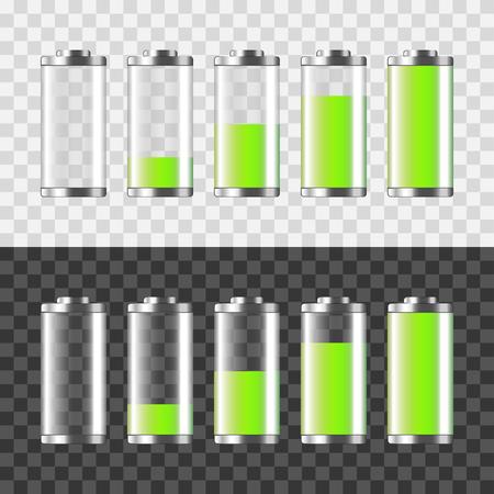 Battery charging isolated on white and dark photo-realistic vector illustration Ilustração