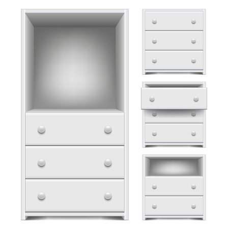 Chest of drawers isolated on white photo-realistic vector illustration Stock Illustratie