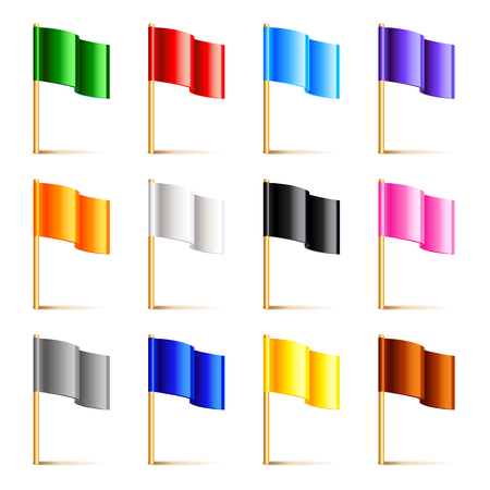 Colorful flags isolated on white photo-realistic vector illustration