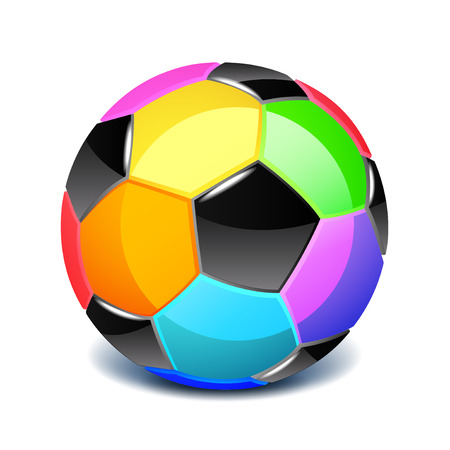 Colorful soccer ball isolated on white photo-realistic vector illustration Ilustração