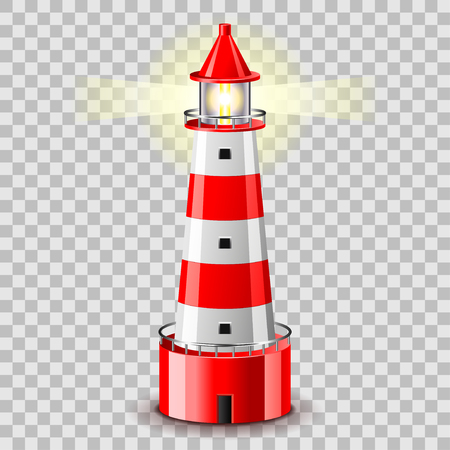 Lighthouse building isolated on grey photo-realistic vector illustration