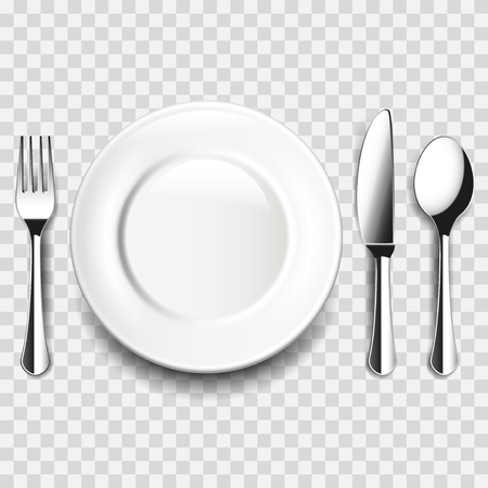 Plate and cutlery on white table isolated photo-realistic vector illustration
