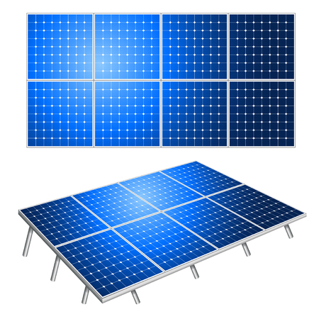 Solar panels alternative energy isolated on white photo-realistic vector illustration
