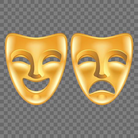 Masques de théâtre isolés sur illustration vectorielle photo-réaliste sombre Vecteurs