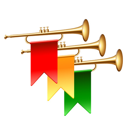 Trumpets with colorful flags isolated on white photo-realistic vector