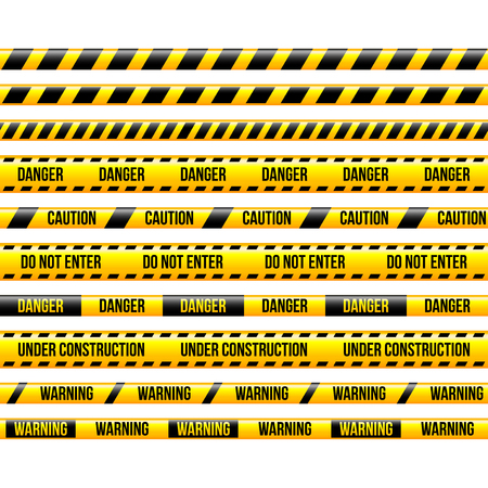 Warning and under construstion yellow stripes isolated vector set 일러스트