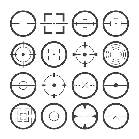 Cross hairs target symbols flat icons detailed  set