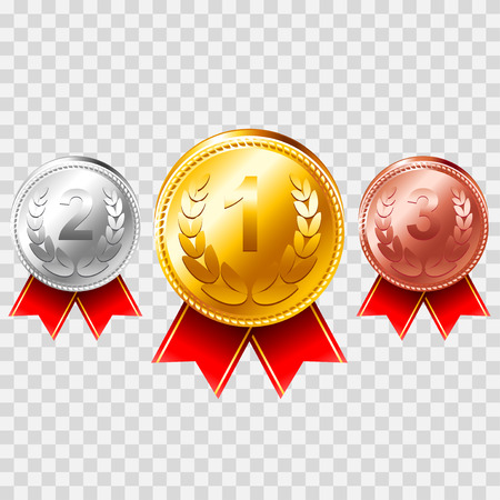 Gold silver bronze medals isolated photo realistic vector set Illustration