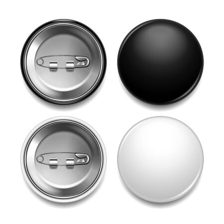 Black and white round badge detailed