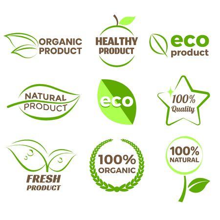 Eco organic product logo icons detailed Ilustração