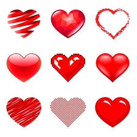 Different hearts icons detailed Ilustração