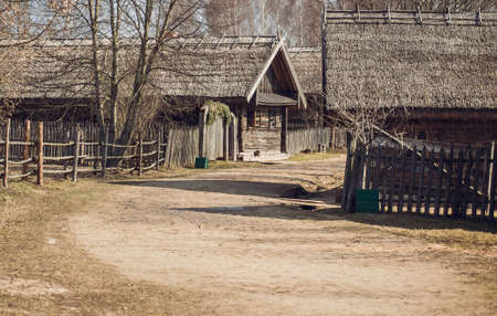 backcountry: Belarusian village in the past, in March 2016 Stock Photo