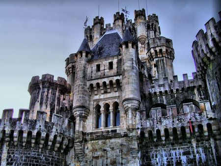mistery: Butron Castle�s front face in the Basque Country 2 Stock Photo