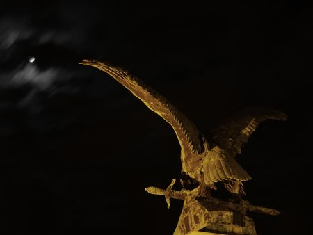 Eagle flying in the night with a sword.