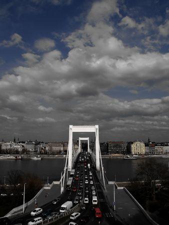 City of Budapest. Bridge over the Danube. Half desaturated. photo