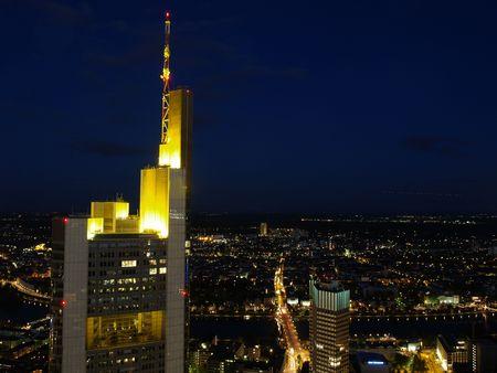 nightscene: Nightscene of Frankfurt city from above