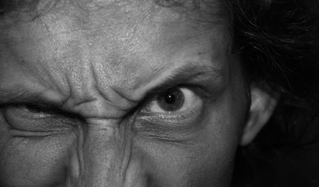 Eyes of an angry man.