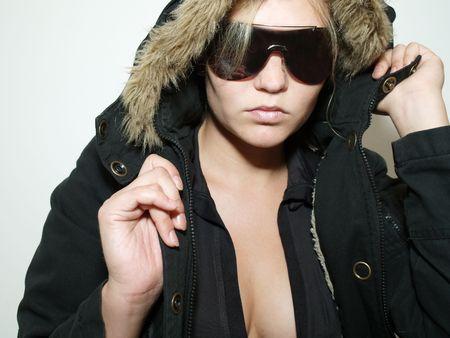 Beautiful girl in black  fur coat Stock Photo - 3347512