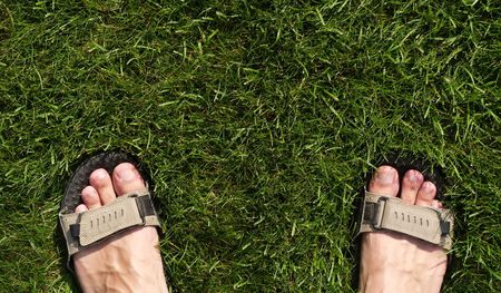 Feet in sandals on the grass