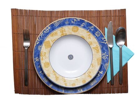 Chinese style dishes on white