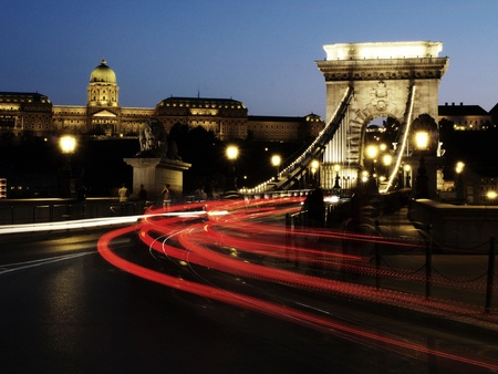 Chain bridge of Budapest city photo